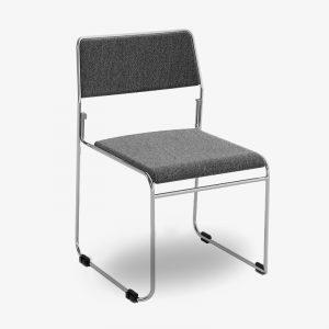 nice, stapelbar, konferensstol, grå, svart, krom, silver