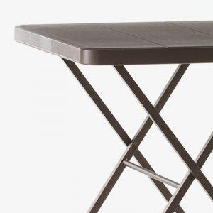 barbord fällbord fällbart bord runt plast utomhus grå brun stålstativ