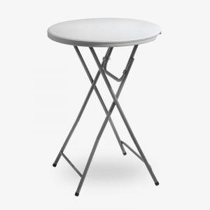 barbord fällbord fällbart bord runt plast utomhus grå stålstativ