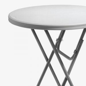 fällbord fällbart bord runt plast barbord utomhus grå stålstativ