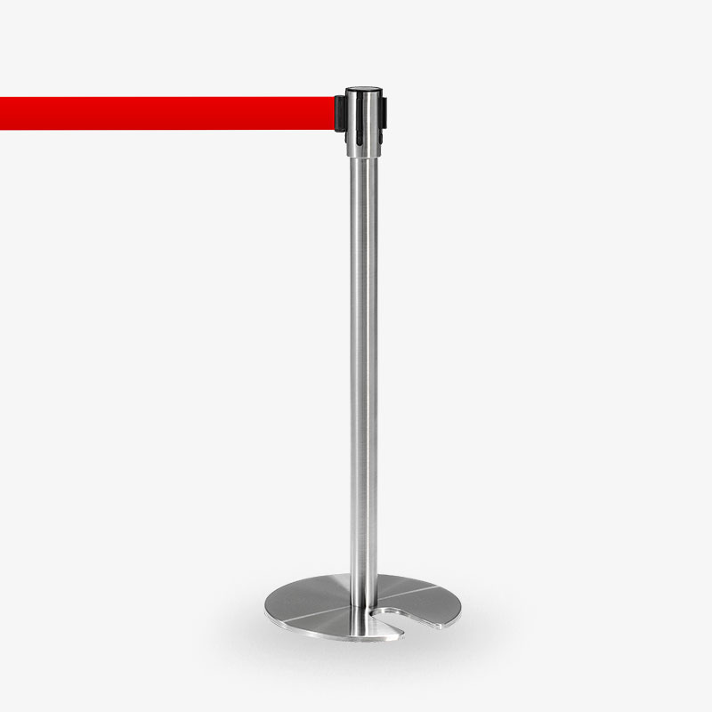 avspärrningsstolpe Köstolpe Royal rostfritt rött band